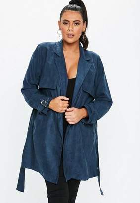 Missguided Size Navy Faux Suede Mac Jacket
