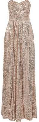Badgley Mischka Strapless Gathered Sequined Mesh Gown