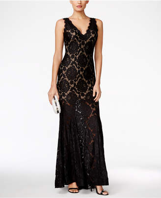 Betsy & Adam Lace V-Neck Gown $269 thestylecure.com