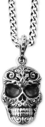 King Baby Studio Men's Carved Skull Pendant Necklace in Sterling Silver