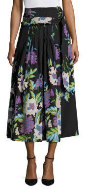 Diane von Furstenberg D-Ring Floral Silk Midi Skirt $498 thestylecure.com