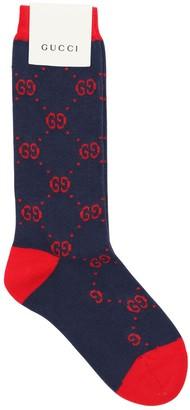 Gucci Logo Intarsia Cotton Blend Knit Socks