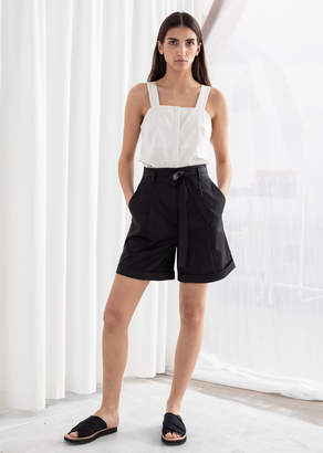 And other stories High Waisted Belted Cotton Shorts