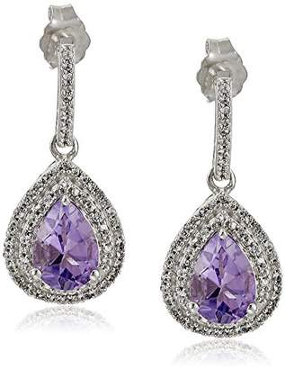 Sterling Silver Pear Shape Amethyst with Round Created White Sapphire Fashion Earrings