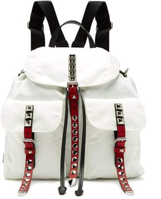 Prada New Vela Studded Nylon And Leather Backpack - Womens - White