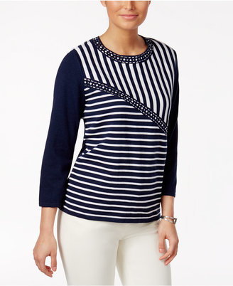 Alfred Dunner Scenic Route Studded Metallic Striped Sweater $66 thestylecure.com