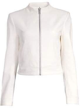 Alice + Olivia Women's Yardley Mockneck Leather Jacket - White - Size XS
