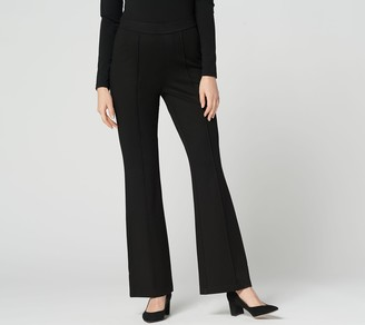Halston H By H by Regular Ultra Knit Boot-Cut Pants with Pintuck Detail