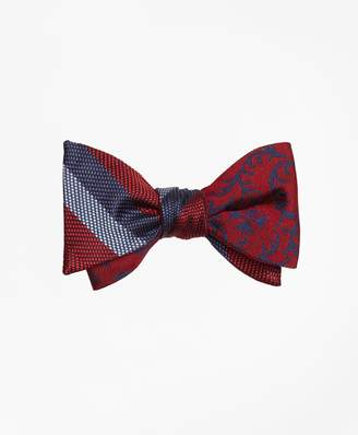 Brooks Brothers Dotted Herringbone Stripe with Vines Reversible Bow Tie