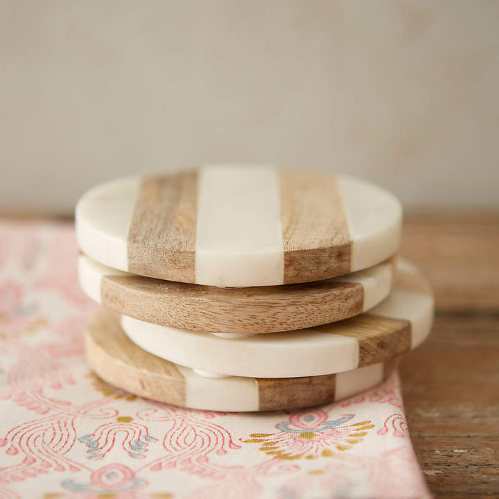 terrain Marble & Wood Coasters, Set of 4