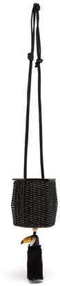 Wai Wai - Fauna Toucan Charm Wicker Cross Body Bag - Womens - Black