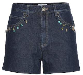 Sonia Rykiel Embellished high-rise denim shorts