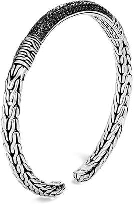 John Hardy Sterling Silver Classic Chain Black Sapphire & Black Spinel Flex Cuff