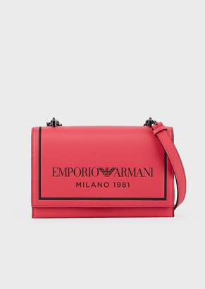 Emporio Armani Leather Shoulder Bag With Chain Strap