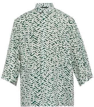 Haider Ackermann Zigzag Print Short Sleeved Crepe Shirt - Mens - Green