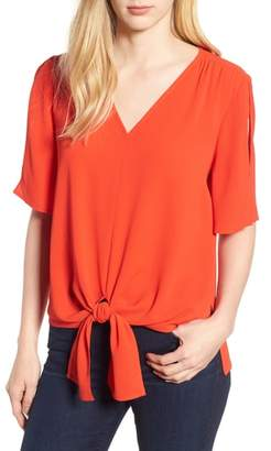 Chaus Tie Front Split Sleeve Blouse