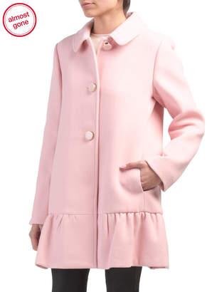 Kate Spade Long Wool Blend Coat With Ruffle Bottom