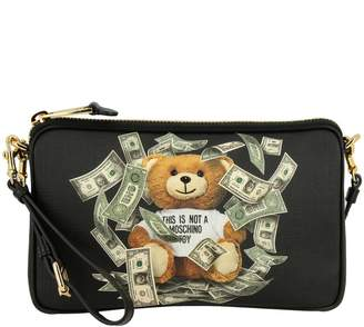 Moschino Clutch Bag In Synthetic Leather With Teddy Dollar Print