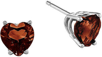 FINE JEWELRY Genuine Garnet 14K White Gold Heart Stud Earrings