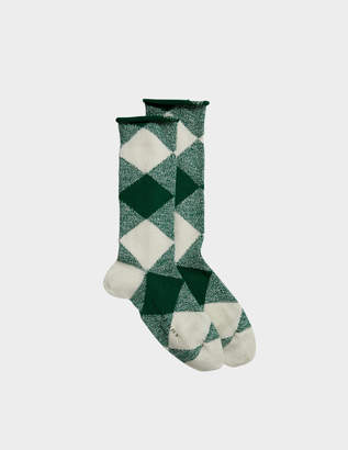 Burberry Army Check Socks in Emerald Green Wool