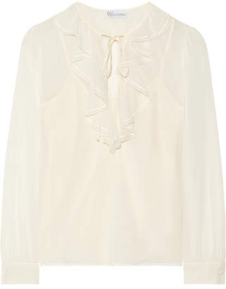 RED Valentino Ruffled Stretch-silk Chiffon Blouse - Cream