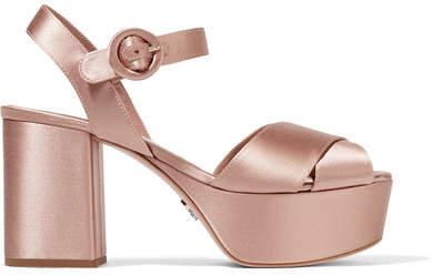 Prada - Satin Platform Sandals - Blush