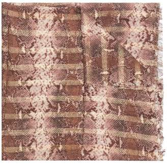 Twin-Set striped snakeskin effect scarf