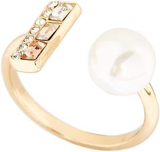 Rebecca Minkoff Gold-Tone Faux Pearl U Ring Size 6