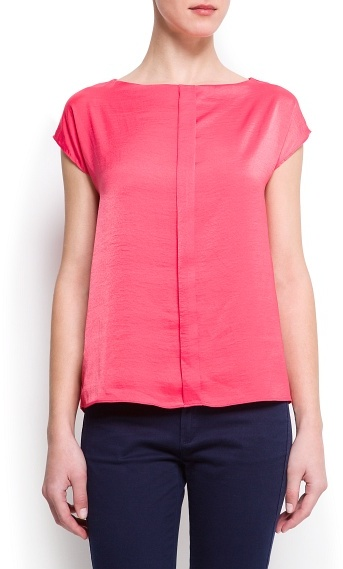 MANGO Pleated loose-fit blouse