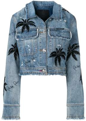 Philipp Plein palm tree denim jacket