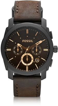 Fossil Machine Mid-Size Chronograph Brown Leather Men's Watch