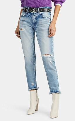Moussy VINTAGE Women's Kelley Distressed Tapered Jeans - Blue