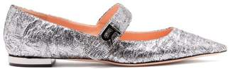 Rochas Mary Jane Floral Brocade Flats - Womens - Silver
