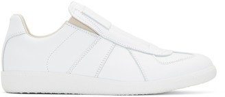 Maison Margiela White Laceless Replica Slip-On Sneakers $650 thestylecure.com