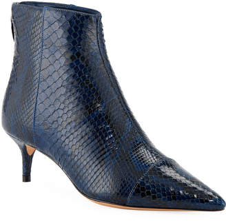 Alexandre Birman New Kittie Python Point-Toe Booties