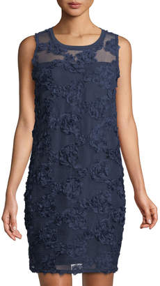 Neiman Marcus Sleeveless Floral Mesh Illusion Dress