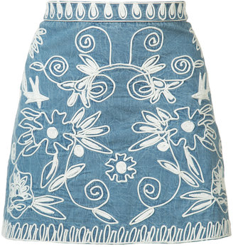 Alice+Olivia embroidered denim skirt $275 thestylecure.com