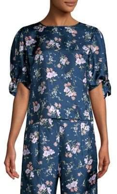 Rebecca Taylor Emilia Floral Short Sleeve Tie Top