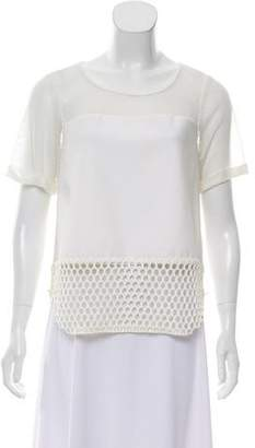Elizabeth and James Mesh-Accented Short Sleeve Top w/ Tags