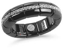 Roberto Demeglio Black Ceramic & 18K White Gold Eternity Ring with Diamonds, 0.42tdcw