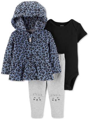 Carter's Baby Girls 3-Pc. Fleece Peplum Hoodie, Bodysuit & Cat Leggings Set