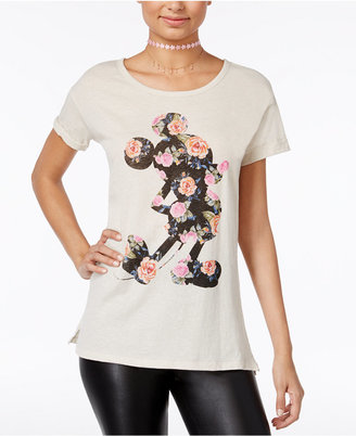 Disney Juniors' Mickey Mouse Floral Silhouette Graphic T-Shirt $24 thestylecure.com