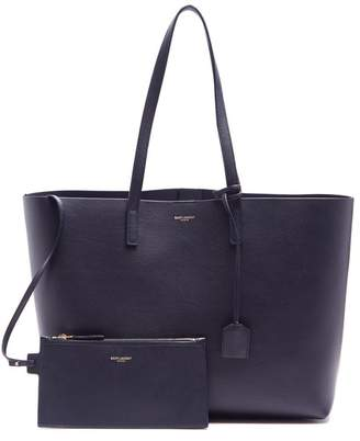 Saint Laurent East West Medium Leather Tote - Womens - Navy