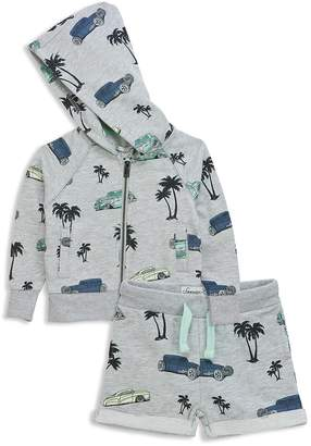 Sovereign Code Boys' Tropical Vintage Car Print French Terry Zip-Up Hoodie & Shorts Set