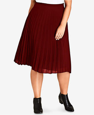 City Chic Trendy Plus Size Pleated Chiffon Skirt