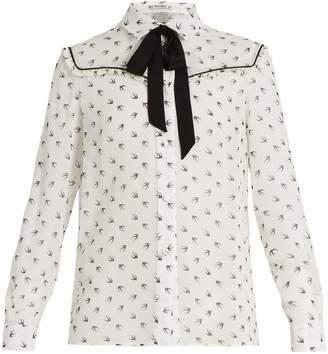 Miu Miu Swallow-print ruffle-trimmed silk blouse