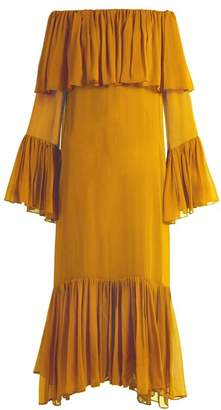 BY. BONNIE YOUNG Off-the-shoulder silk-chiffon gown