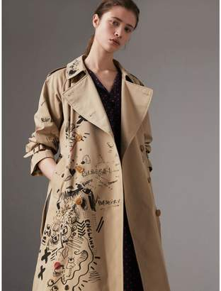 Burberry Sketch Print Cotton Gabardine Trench Coat , Size: 08, Yellow
