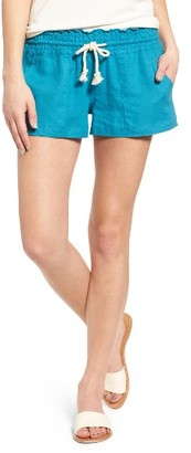 Women's Roxy 'Oceanside' Linen Blend Shorts $38.50 thestylecure.com