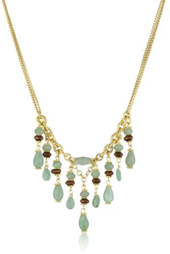 "Rachel Reinhardt Nicole"" Green Aventurine and Wood Dangle Necklace"